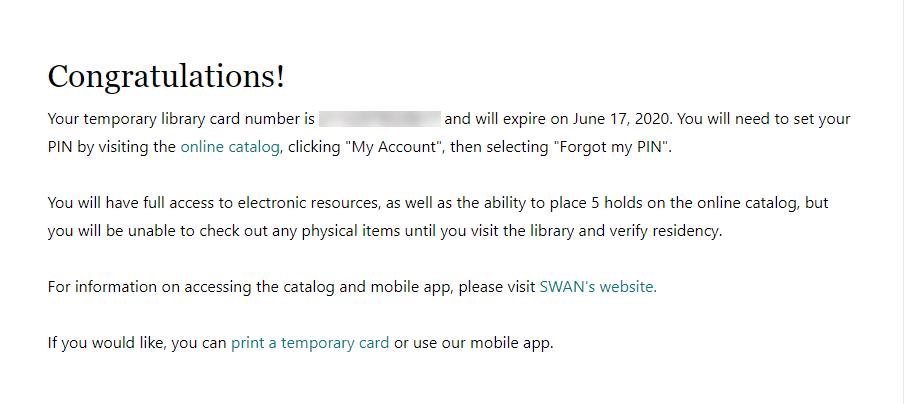 Congratulations Digital Library card